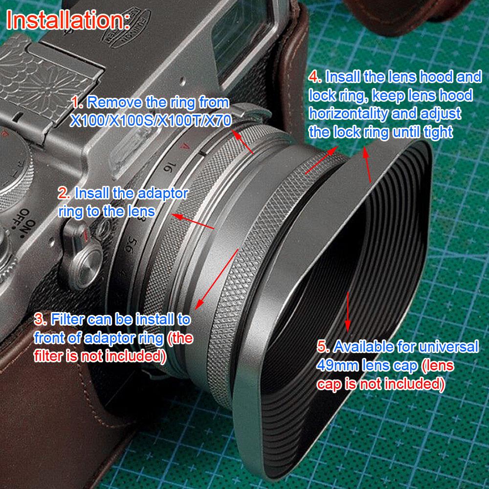 Lh Ew3 49mm Square Lens Hood For Fuji Fujifilm X100 X100s